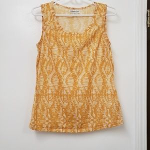 Coldwater Creek Sleeveless Yellow/Cream Tank Top.